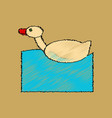 flat shading style icon kids duck automatic vector image vector image