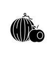 fruits black icon sign on isolated vector image
