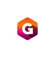 g hexagon pixel letter shadow logo icon design vector image