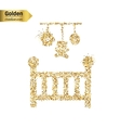Gold glitter icon of baby cot isolated on vector image