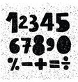 hand drawn number set black ink brush lettering vector image vector image