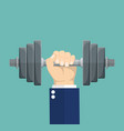hand of businessman holding dumbbell vector image