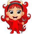 happy girl evil cartoon waving hand vector image vector image
