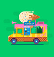 ice cream van deliverystreet food truck vector image
