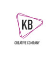 initial letter kb triangle design logo concept vector image vector image
