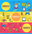it geeks brochure cards thin line set vector image vector image
