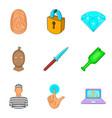 malpractice icons set cartoon style vector image vector image