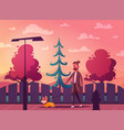 man is walking with a dog cartoon vector image vector image