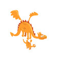 mature dragon with wings and small baby dragon vector image vector image