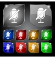 No Microphone sign icon Speaker symbol Set vector image