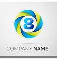 Number eight logo symbol in the colorful circle on vector image vector image