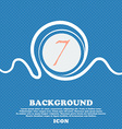 number seven icon sign Blue and white abstract vector image