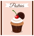 Pastries Cherry Cupcake vector image