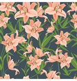 Pink lily seamless pattern vector image