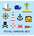 Pixel art marine isolated set vector image vector image
