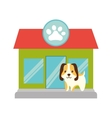 puppy little pet domestic pet shop facade paw vector image vector image