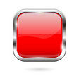 red glass button 3d shiny square icon vector image vector image