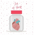 Red heart inside glass jar vector image