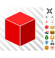 red isometric cube icon with bonus vector image