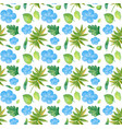 seamless background design with blue flowers and vector image vector image