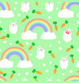 seamless pattern with cartoon cute rabbits vector image