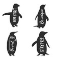 set of penguins vintage logo template with text vector image vector image