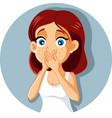 sick woman covering mouth vector image vector image