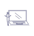 silhouette woman with laptop in white vector image vector image