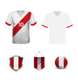 soccer jersey or football kit template for peru vector image vector image