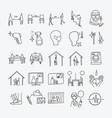 social distancing doodle icons set drawing sketch vector image vector image