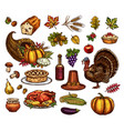 thanksgiving day isolated icons set vector image vector image