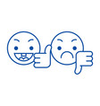 thumbs up down emoji line icon concept thumbs up vector image vector image