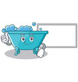 thumbs up with board bathtub character cartoon vector image vector image