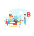 tiny people learning foreign language teacher vector image vector image
