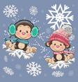 two cute monkeys vector image vector image