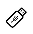 usb flash drive icon black icon isolated on white vector image