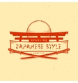 vintage japan style sign with katanas vector image vector image