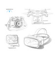 virtual reality headset air quad drone vector image vector image