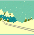 winter mountains background with ski track vector image vector image
