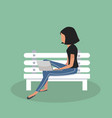 woman sitting bench with notebook vector image vector image
