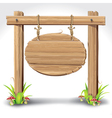 Wooden sign boarder hanging with rope vector image vector image
