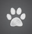 cat footprint sketch logo doodle icon vector image