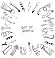 set of arrows with sketch style vector image