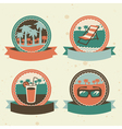 abstract logo - retro labels with summer icons vector image vector image