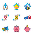 accumulated finances icons set cartoon style vector image vector image