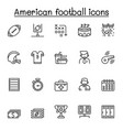 american football icon set in thin line style vector image