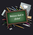 back to school with table and various tools vector image