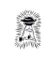 barbecue grill in linocut style vector image vector image