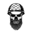 bearded soldier skull in army helmet design vector image vector image