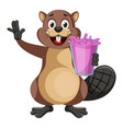 beaver with pink jucie on white background vector image vector image